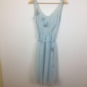 Vintage lingerie slip dress nightgown blue Nylon